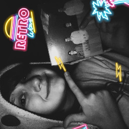 weezeralbum selfie blackandwhite retrofilter neon