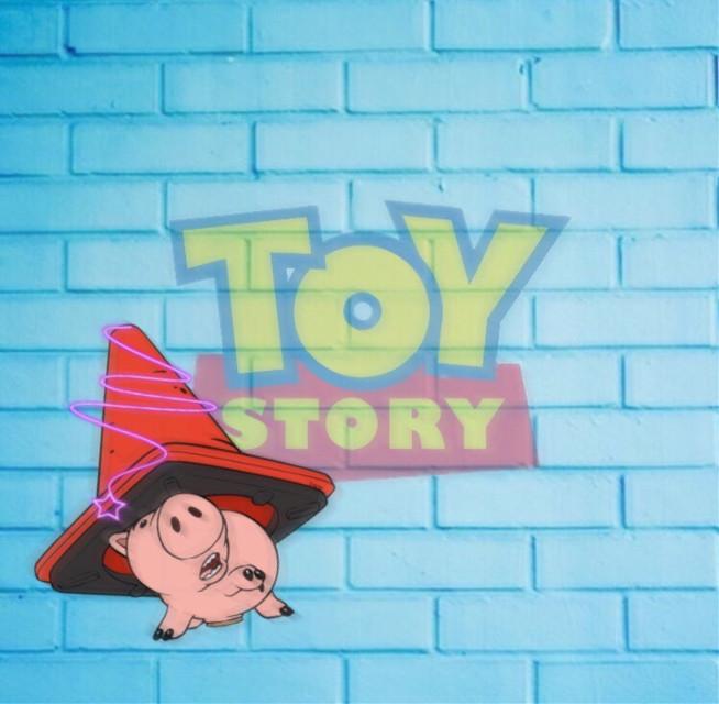 #freetoedit #toystory #disney #pixar #wall #blue #corn #red #pink #pig #neon #star #hamm #pair