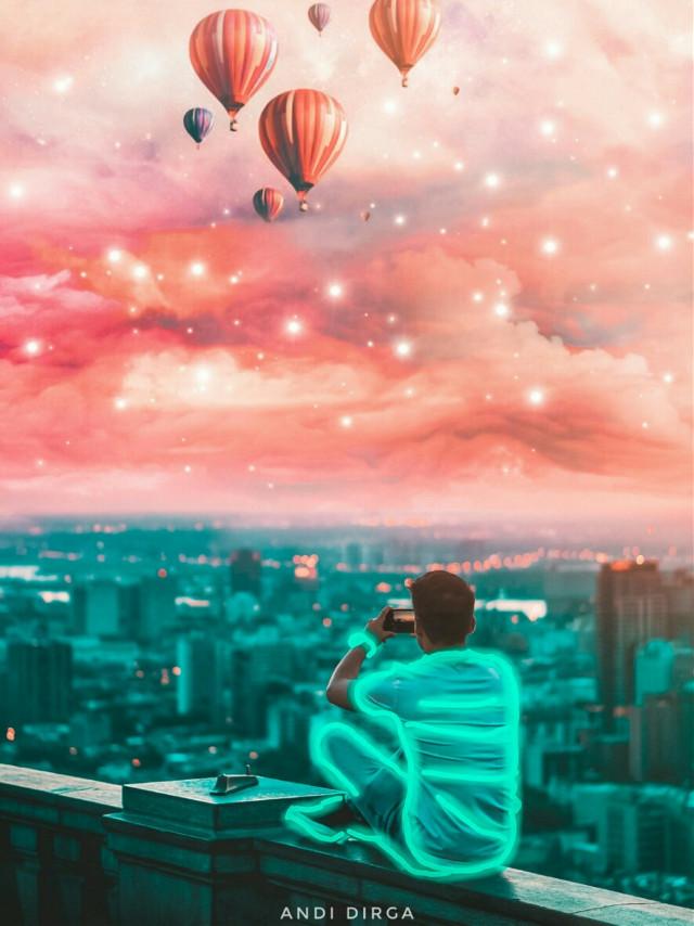 """Aqua x Orange""  #freetoedit #manipulation #surreal #hotairballoon #sky #myedit"
