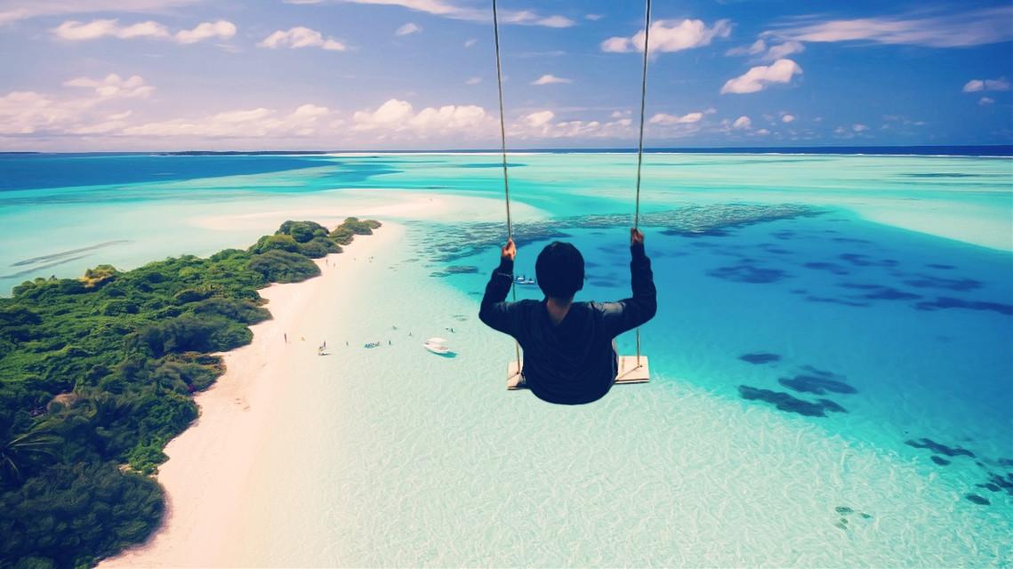 #freetoedit @pa @freetoedit #sea #beach #swing #people #boy #view #nature #ocean