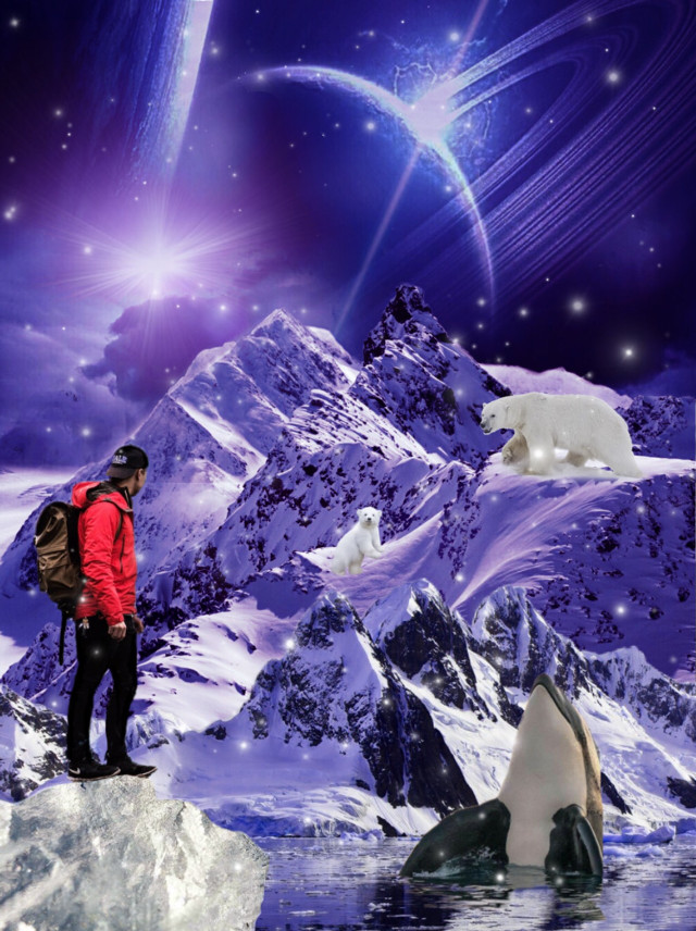 #freetoedit #remix #multilayered #artic #planet #space #polarbears #whale #hiker #hue #curves