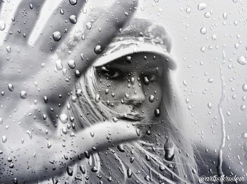 I Can't Stand The Rain #photoediting #doubleexposure #picsart #picsartedit #woman #rainonthewindow #bandw #freetoedit