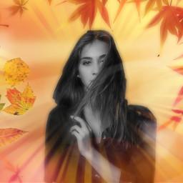 freetoedit woman autumnfeels leavesfall