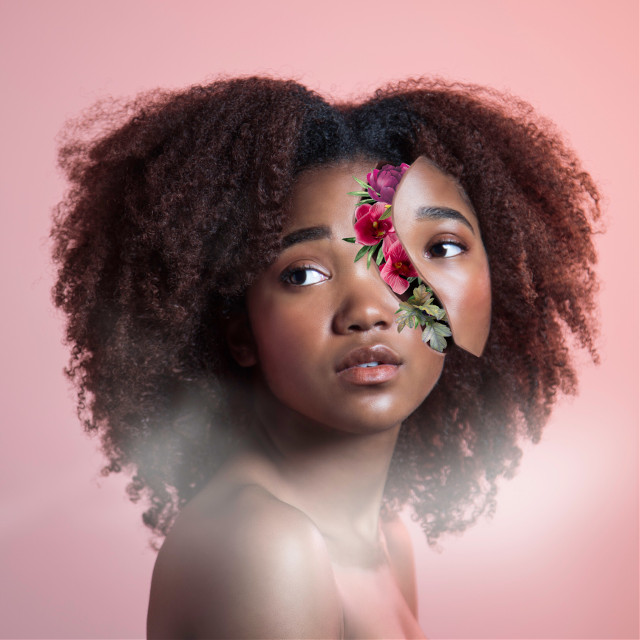 #flower #girl #blackgirl #pink #flower #surreal #cut #aesthetic #hipster #shawnmendes #afro #pretty #portrait #beautiful #people #woman #feminism #art #summer #spring