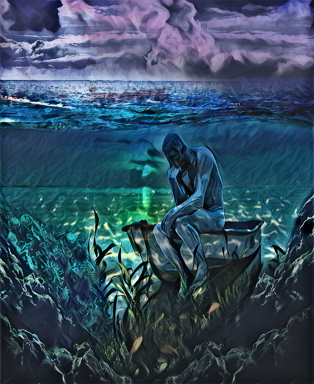 #ircfineartfridayar #fineartfridayar  #myedit #creative #be_creative #nature #underwater #surreal #phantasy #fantasy #fantastic #loneliness #thethinker #picsart