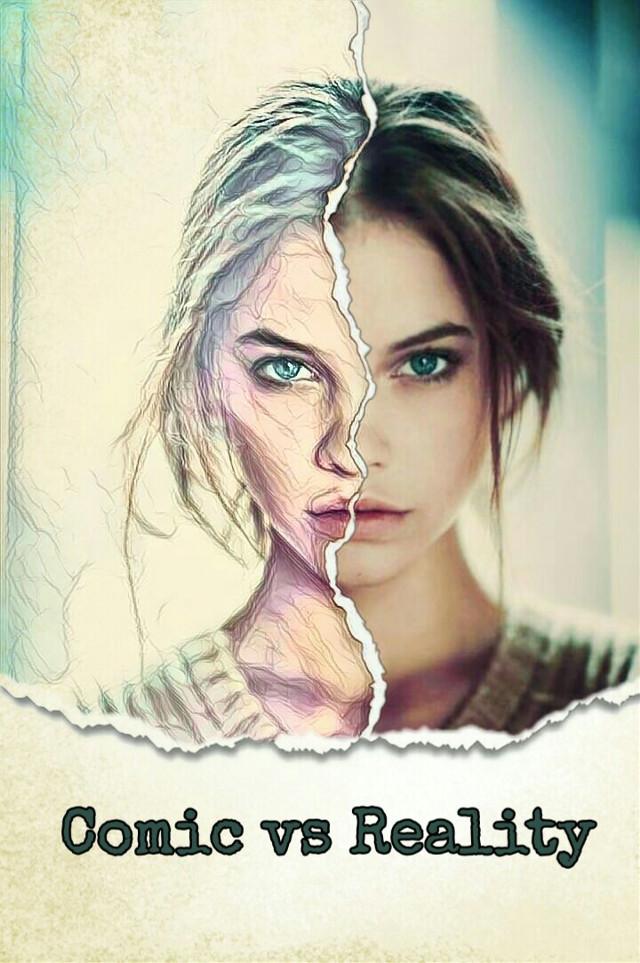 #freetoedit #remixit #girl #woman #comic #vs #reality #comicvsreality