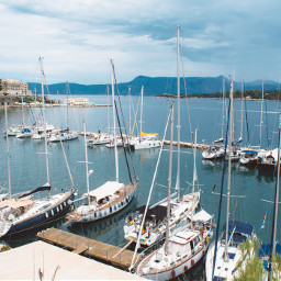 bay boats ocean corfu