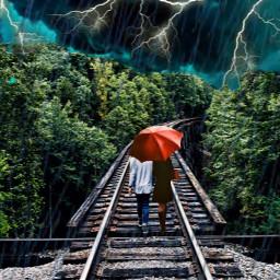 freetoedit railroadtrack stormyday couplegoals lightningstrike