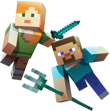 minecraft aquatic steve alex trident sword diamond game