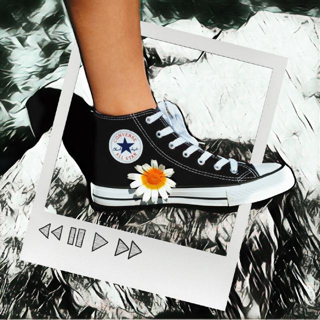 #freetoedit #converse #flower #polaroid #black