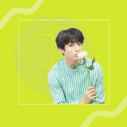 freetoedit jungkook lightgreen flower cut