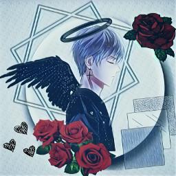 blueandred red roses animeboy animeboyrose freetoedit