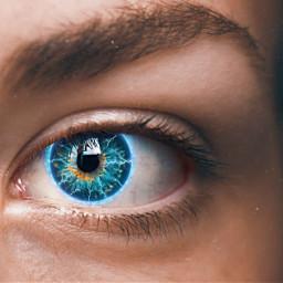 eyes electric lightning blue girl freetoedit