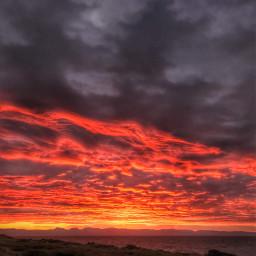 sunrise redsky firey mountains clouds freetoedit