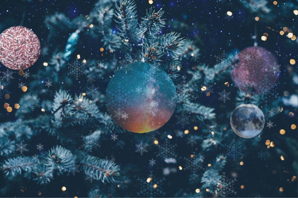 #freetoedit #christmas #christmasornaments #ornaments #holidays #galaxy #stars #sparkling #moon #snowflakes #tree #stickers #madewithpicsart #dodgereffect #picsart
