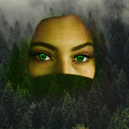 freetoedit forest mysterious girl woman