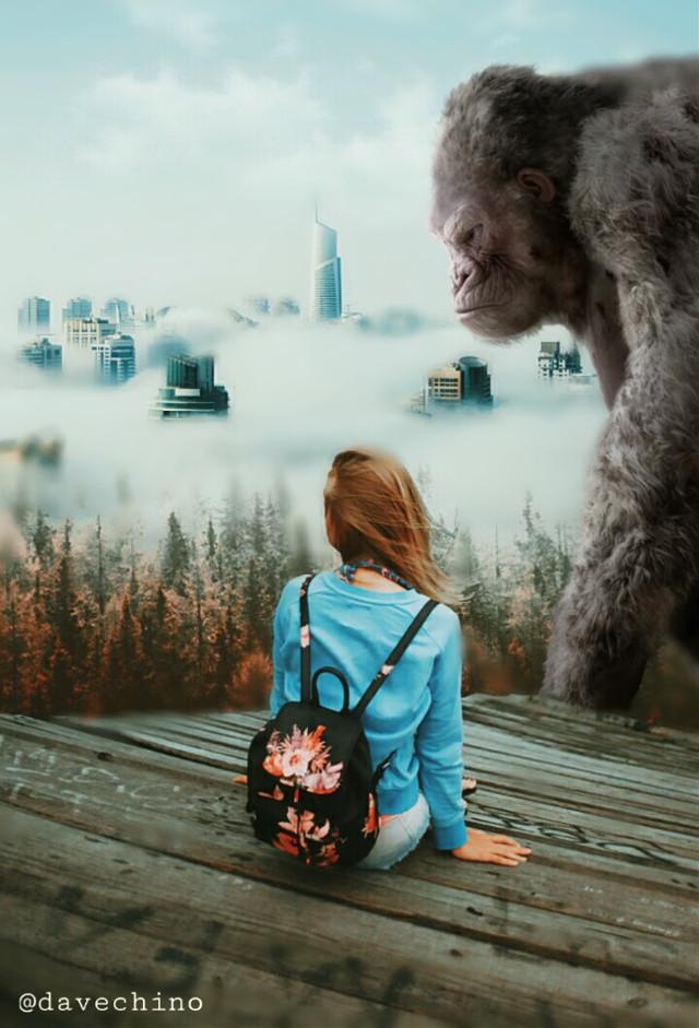 #nature #landscape #cityscape #cloud #giantanimals #girl #gorilla @freetoedit @picsart #conseptual #surreal #surrealist #surrealism #myart #myedit