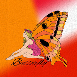 freetoedit butterflyart orange coloringbookforadults