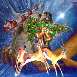 freetoedit dinosaur xmastree santaclaus stickersremixed