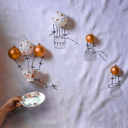 balloon zeppelin christmas tee coffee freetoedit