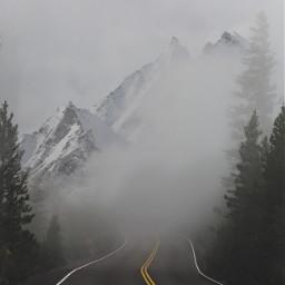 ircmistyroad mistyroad road mountains fog freetoedit