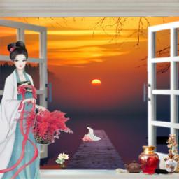 freetoedit sunset chinesegirl window lake