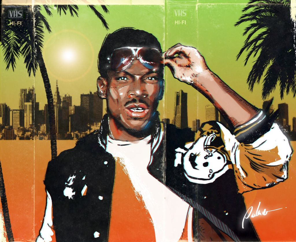 Beverly Hills Cop 1984 #punksy #artist #painter #illustrator #drawing #eddiemurphy #beverlyhillscop #retrowave #newretrowave #synthwave #80s #eighties #1980s #vhs