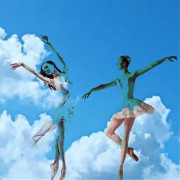 freetoedit ballet dancer sky up