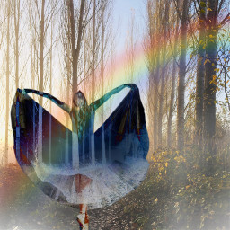 freetoedit rainbow girl beautiful forest