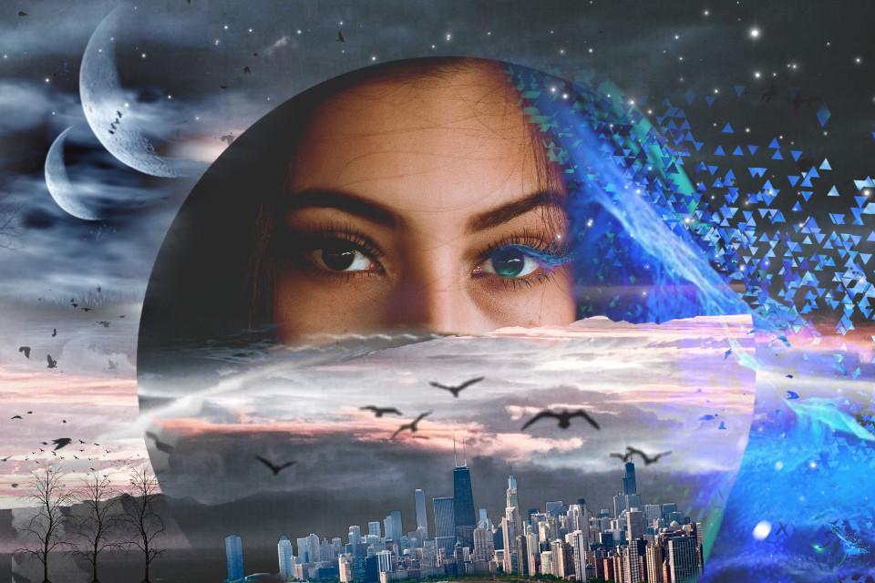 #freetoedit #fantasy #girl #space #city #birds #clouds #sky