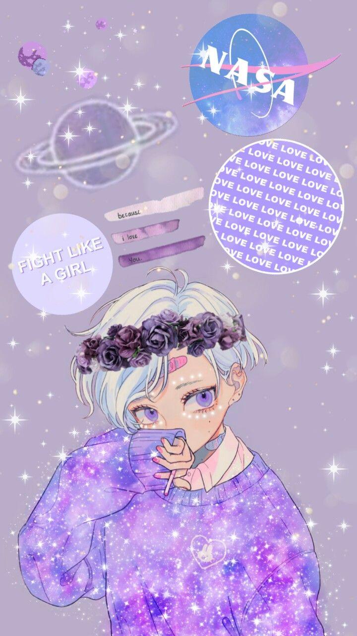 freetoedit galaxy anime aesthetic purple here is
