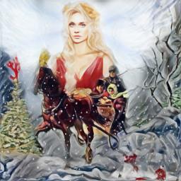 horsecarriage sled horse snow girl freetoedit srcreindeerantlers