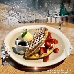 waffle strawberry yummydessert freetoedit