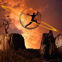 freetoedit trapped sunset glasssphere ring