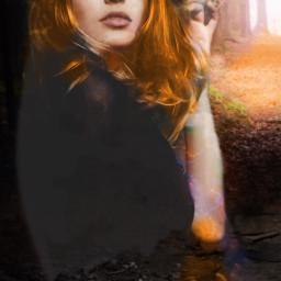freetoedit forestgirl sunbeamleaves bonfire