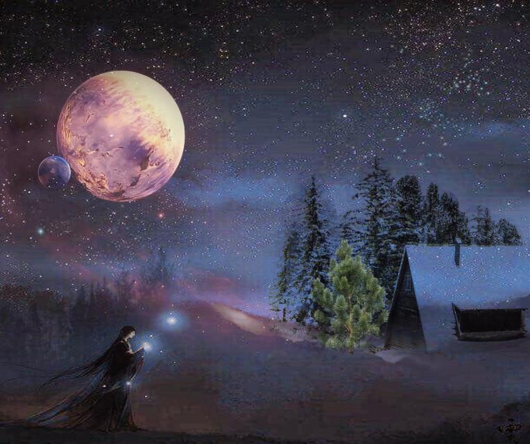 #freetoedit #fantasy #winter #sky #space #night #house