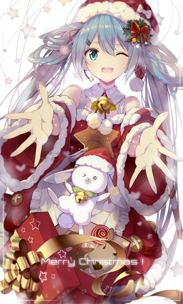 Anime Merry Christmas.Again I Wish You A Happy New Year And Merry Christmas