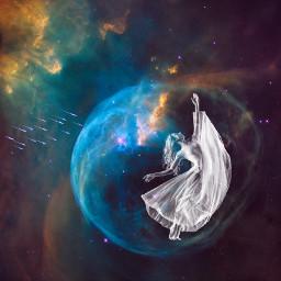 freetoedit dancing meteorshower nebula prettylady