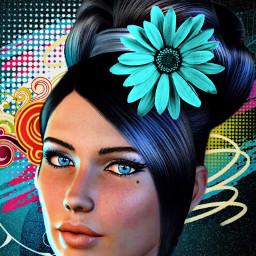 freetoedit woman flower colorfulbackground