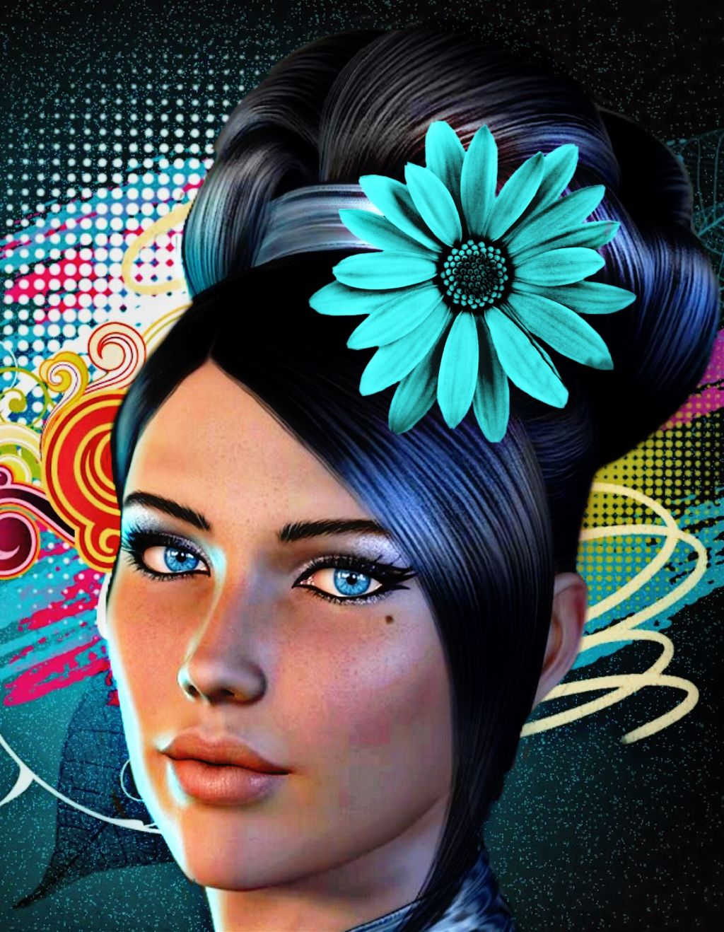 #freetoedit #woman #flower #colorfulbackground