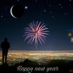freetoedit happynewyear skyline stars moon