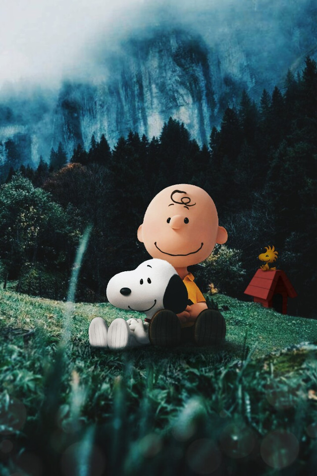 Snoopy And Charlie Brown ♥ #freetoedit #edit #picsart #snoopy #charliebrown #emilio #movie #surrealism #landscape #mountains #visualart #creative
