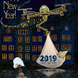 happynewyear baby drone stork delivery freetoedit