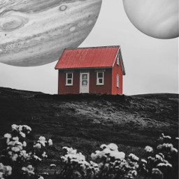 house redhouse blackandwhite planets jupiter freetoedit