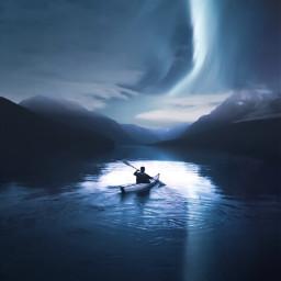 ocean conoe man nature northernlights