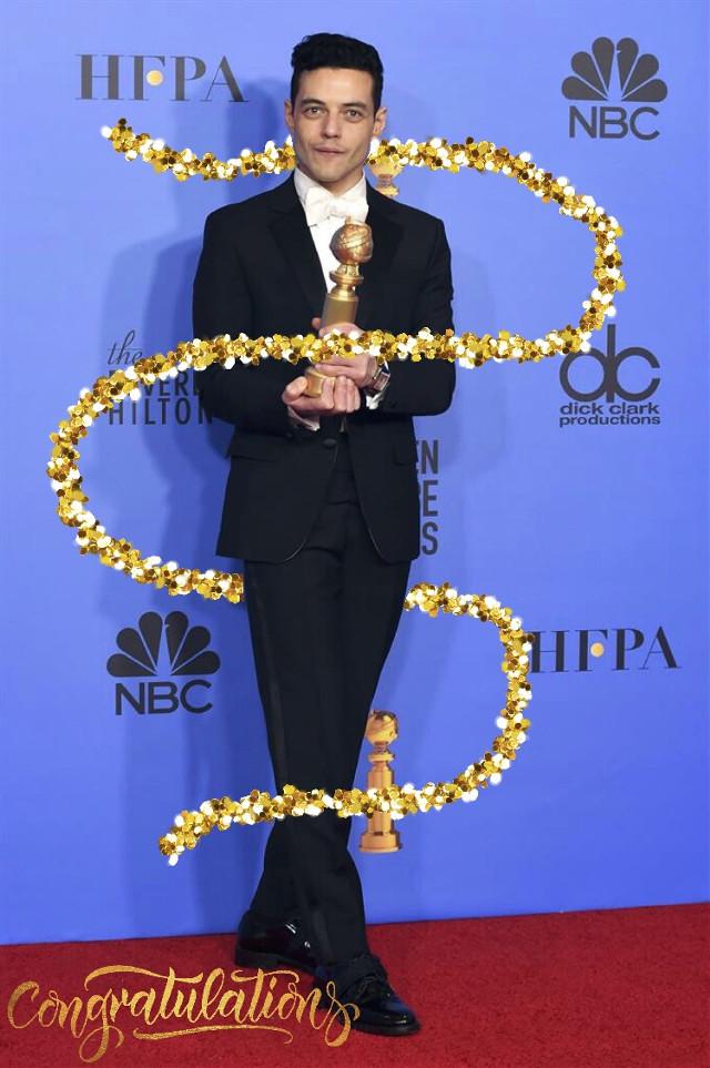 #freetoedit 👉🏼 #GoldenGlobes #Glitter #Gold #RamiMalek #Queen #Congratulations #RedCarpet 🥳 @pa