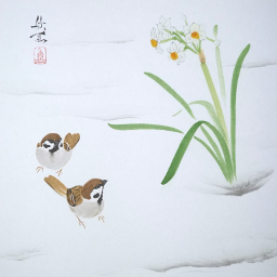 drawing art narcissus sparrow snow