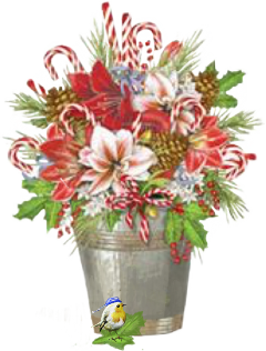 christmas flowerpot candycanes bird