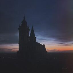 nightfall bergamo italy 12thcentury basilica freetoedit