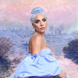 ladygaga goldenglobes astarisborn painting blue freetoedit